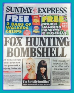 sunday express fox hunting bomshell pic.jpg framed
